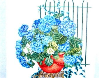 40%Off/CROSS STITCH KITS// by Thea Gouverneur. A Vintage Kit of a Bouquet of Blue Hydrengea in a terracotta Pot. //Was(90.00) Now!!