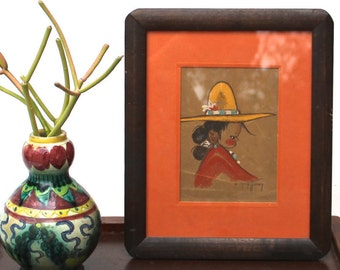 Gerda Christoffersen Papoose Painting Native American Indian Art Print Framed Rustic Southwestern Lodge terracotta yellow black brown red