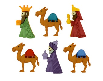 We Three Kings Jesse James Buttons Christmas Nativity Wisemen Magi Gifts Gold Frankincense Myrrh East Robe Green Red Blue Purple Brown Camel