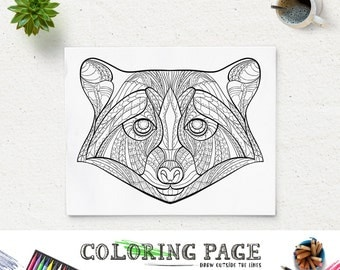 Printable Coloring Pages Raccoon Head Animal Page Instant Download Adult Book