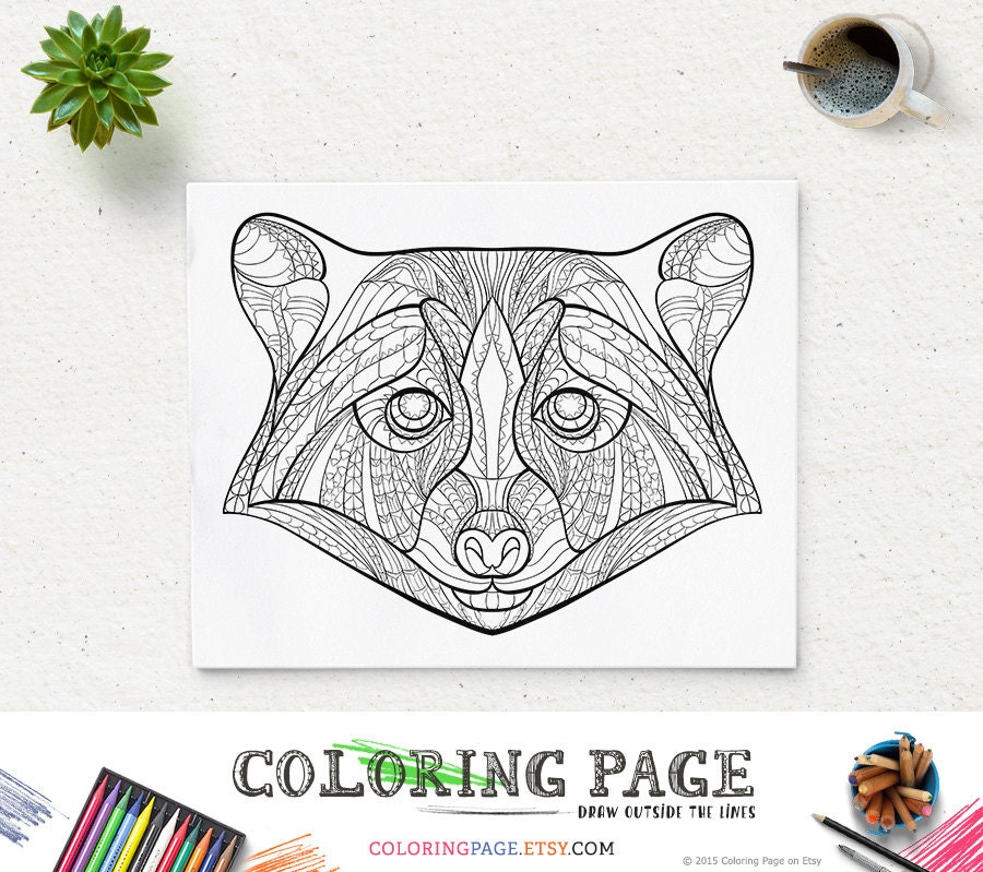 Printable Coloring Pages Zen : Printable coloring pages raccoon head animal page