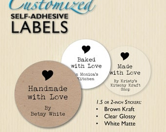 Custom Handmade with Love Stickers, Clear, Brown Kraft, Made with Love, Baked with Love, Shop Packaging, Homemade Box Labels, Personalized