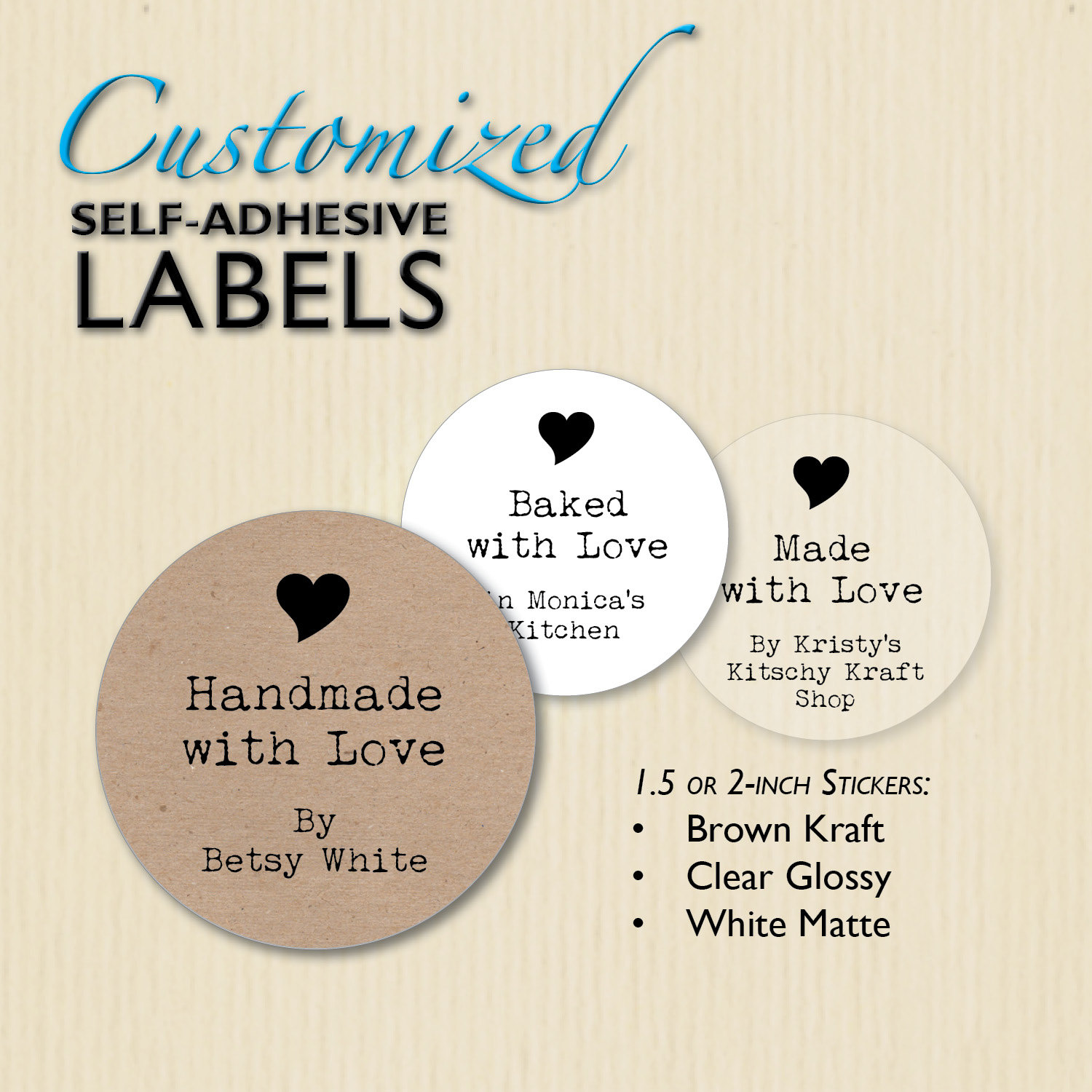 Custom Handmade with Love Stickers Clear Brown Kraft Made