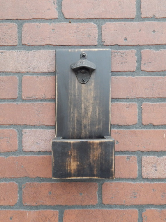 Wall Mounted Distressed Bottle Opener With Cap Catcher And