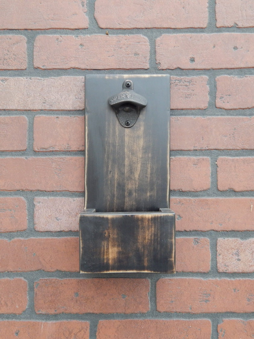 Wall mounted distressed bottle opener with cap catcher and for Bottle cap wall