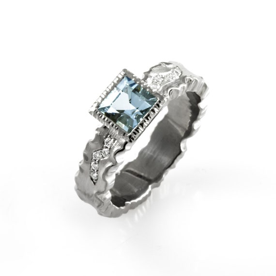 unique engagement ring aquamarine engagement ring