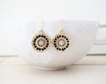 Black and Gold Pendant Disc Earrings