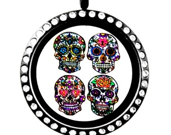 Dia de Los Muertos Day of the Dead Sugar Skull Floating Charms