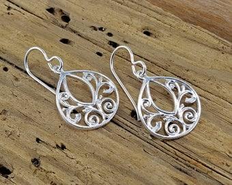 Sterling silver drop earrings -Scroll earrings -Jewelry By A.H.