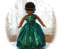 "Masquerade Ball Gown, Dress, Mask, Hoop Petticoat. American girl doll. 18"" Doll. Bright Aqua Blue Turquoise.   Winnie's Wardrobe"