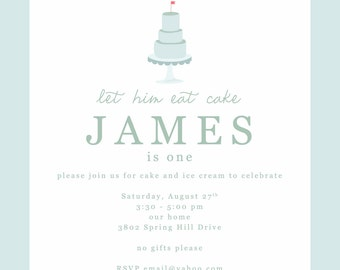 Simple Let Him Eat Cake and Ice Cream First Birthday Party Blue Square Gingham Invitations-FREE SHIPPING or DIY printable