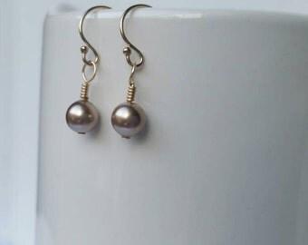 14k Goldfill Bronze Pearl Dangle Earring