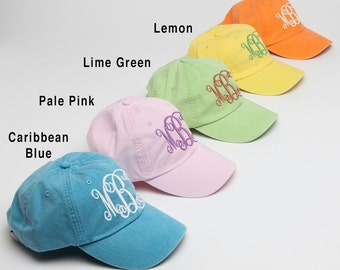 Monogram Baseball Cap for Ladies-Pigment Dyed Hat with Interlocking Script Monogram-Custom Embroidery, Personalized Baseball Hat