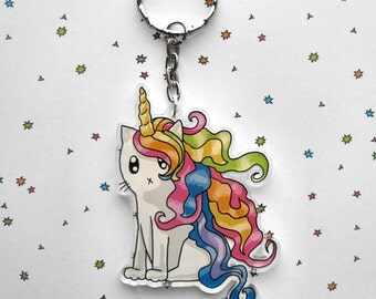 Cute Cat Keychain, Rainbow Unicorn Keychain, Cat Keyring, Kawaii Cat, Cat Unicorn, Cute Keychain, Cat Lover Gift, Unicorn Lover Gift