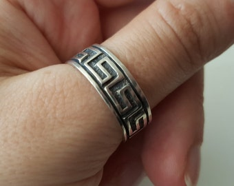 925 Sterling Silver Vintage Carved Geometric band Ring, size 10
