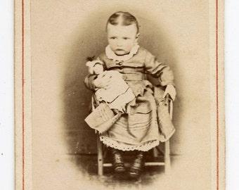 1870s Little Girl & Toy Doll CDV Photo Carte de Visite Antique Vintage Victorian Fashion