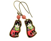 Cat earrings, Elegant Cat In a Fancy Suit, Colorful, Pink & Green, Awesome Cameo Charm earrings - Birthday gift Idea For Cat Lovers