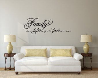 Family where life begins and love never ends - Vinyl Wall Decal v2