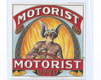 MOTORIST Vintage Lithograph Outer Cigar Labels ca. 1920s