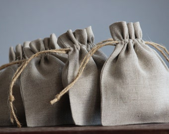 Petite Linen Pouches|Set of 5|Stone Coloured| Favour bags | Packaging| Gift bags | Wedding