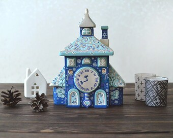 Hand painted wooden house, home decor