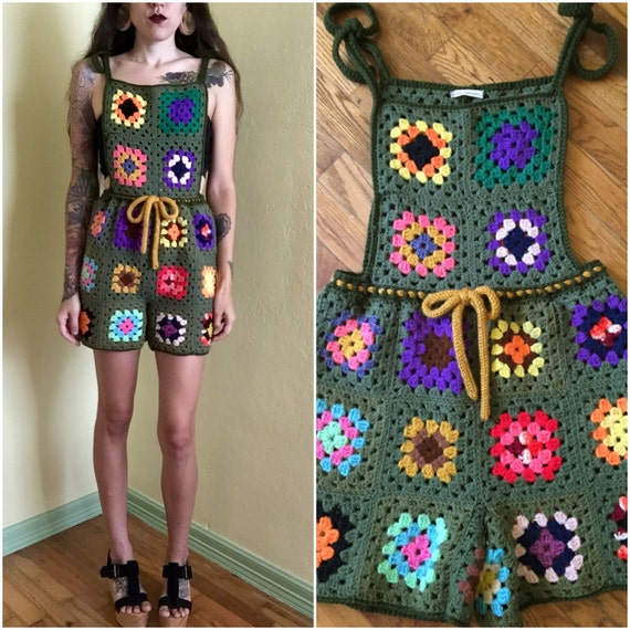 Granny square crochet overall jumpsuit romper 70s upcycled army green multi