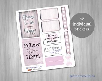 Heart quote sampler planner stickers for your Erin Condren Life Planner, Plum Planner, Filoflax, calendar or scrapbook