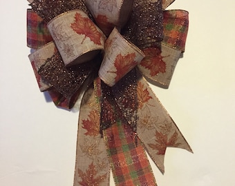 Fall Wreath Bow, Fall Wired Ribbon, Fall Burlap Wired Ribbon, Burlap Fall Wreath Bow, Fall Burlap Bow, Thanksgiving Wreath Bow, Autumn Bow