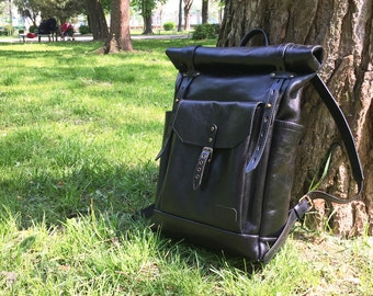 Black leather backpack - Mens / Womens leather backpack - Black leather rucksack. Black leather bag