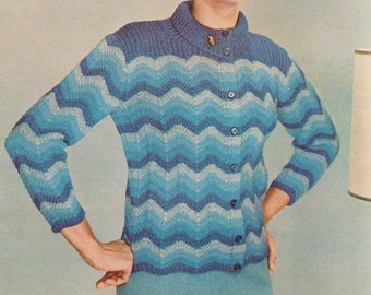 Knitting pattern vintage 1969 1960 sweater button up cardigan download