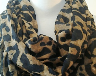 Black and Brown Infinity Scarf / Cheetah Printed Fabric Scarf / Gift for Her / Gift Ideas.