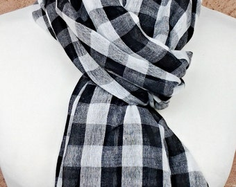Black and White Plaid Scarf / Fabric Scarf /  Gift for Her / Gift Ideas.