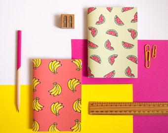 Set of Two Notebooks / Fruity Notebooks / Stationery Set / Cute Stationery / Notebook Set / Gifts for Her / Stationery Gifts / A6 Notebooks