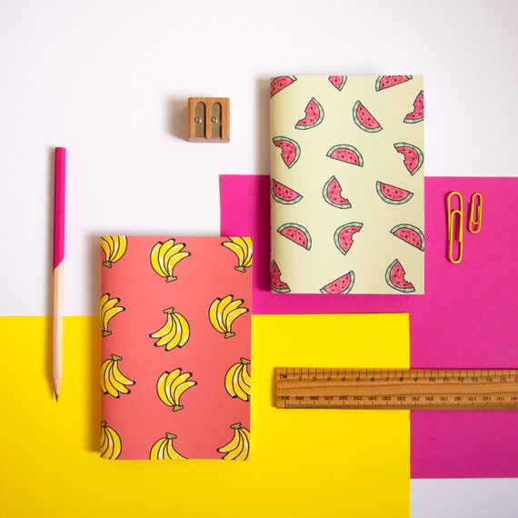 Set of Two Fruity Notebooks / Banana and Watermelon / Stationery Set