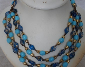 former clamp 4 ranks in vintage 1950 glass beads