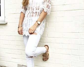 Jessica Beach Coverup White Lace Floral Organza Blouse