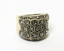 Large Silver and CZ Ring with Filigree Silver and Marcasite Gemstones in Hollywood Silver Shining Gemstone Ring