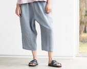 Loose washed linen pants with deep pockets in light elephant grey / Japanese style linen trousers / Washed linen pants