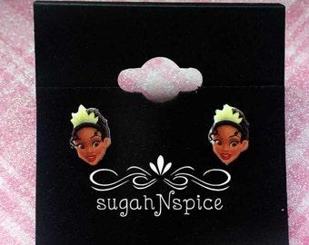 Princess Tiana Earrings - Princess and the Frog Earrings - Tiana Posts - Princess Earrings - Disney Princess Earrings - Tiana Posts