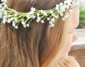 White baby's breath flower crown.Adjustable flower crown.Bridal flower crown..Newborn flower crown.Toddler flower crown.Adult flower crown.