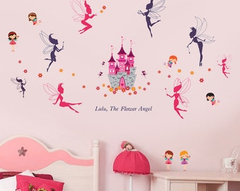 Wall sticker Princess castle with flowers and fairies
