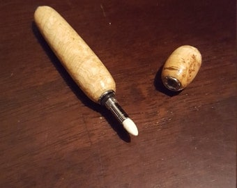 Handmade Marbled Maple Burl Wood Perfume Applicator by Artist WFR49 Use Your Own Fragrance, Refillable