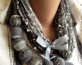 Crochet scarf/ Crochet gray necklace/ Long crochet necklace scarf/ Winter mother necklace/ Lariat scarf/ Christmas gift/ Boho scarf necklace