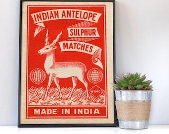 Indian Antelope Matchbox Print