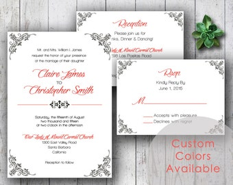 Printable Wedding Invitations, Floral Damask Invitations, Traditional Wedding Invite, Printable Wedding Invites (Your Choice in Colors!)