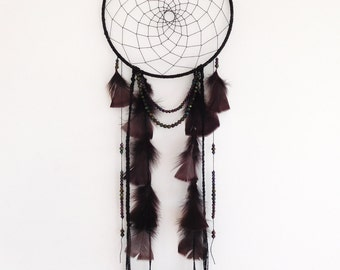 Midnight Magic Dreamcatcher ~ Iridescence Beads, Feathers