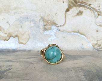 Gold Plated Wire Wrapped Ring, Aventurine Gemstone, Semi Precious Stone, Gold