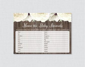 Rustic Baby Animal Name Game - Baby Shower Baby Animal Name Game - Printable Download - White Flower and Wood Baby Animal Match Game - 0053