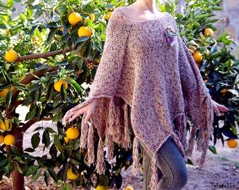 Beige poncho, oversize knitting , Fringe Ponchos, Poncho Sweater, Women Accessories, Hand Knit Poncho,  Boho Poncho, Asymetrical Sweater
