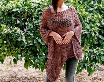Evening wrap, Brown Poncho,  Loose Knit Poncho, Oversized poncho,  Summer wrap, Summer shawl,  Spring Poncho,  Poncho Sweater, Cotton Poncho